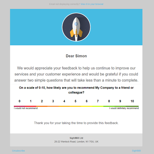 Customize email Net Promoter Score surveys