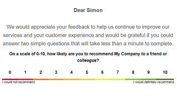Collect feedback with NPS surveys and html formatting via email