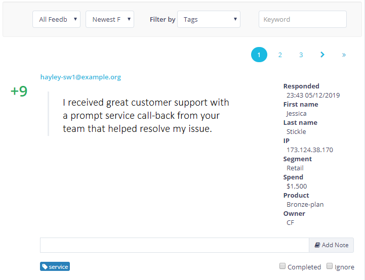View customer feedback NPS survey results with detailed meta data